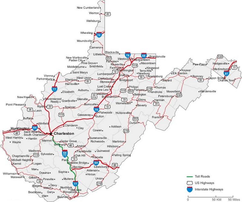 Map Of Virginia Roads.Wv County Quiz